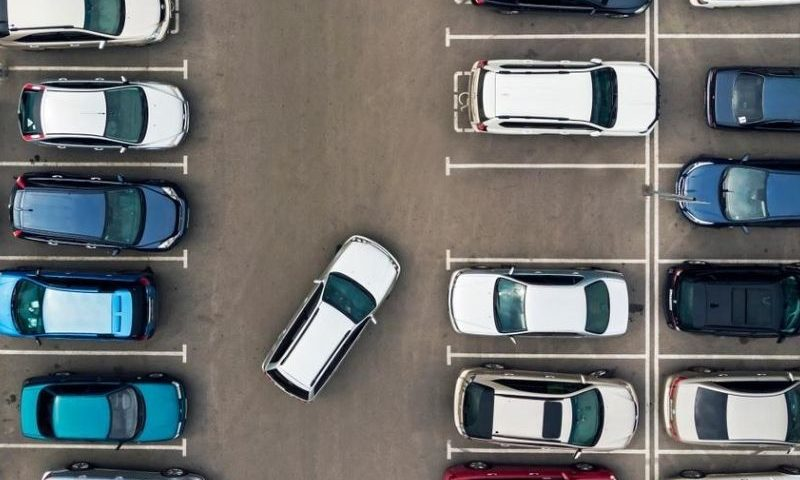 car parking in a huge parking lot
