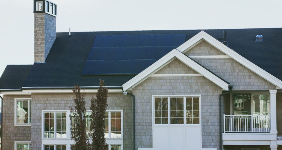solar panels on an eco-friendly house